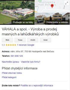 Google My Business ukázka prodejny Váhala